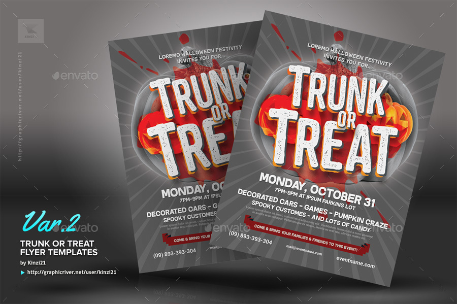 Halloween Trunk Or Treat Flyer Templates By Kinzi21 Graphicriver