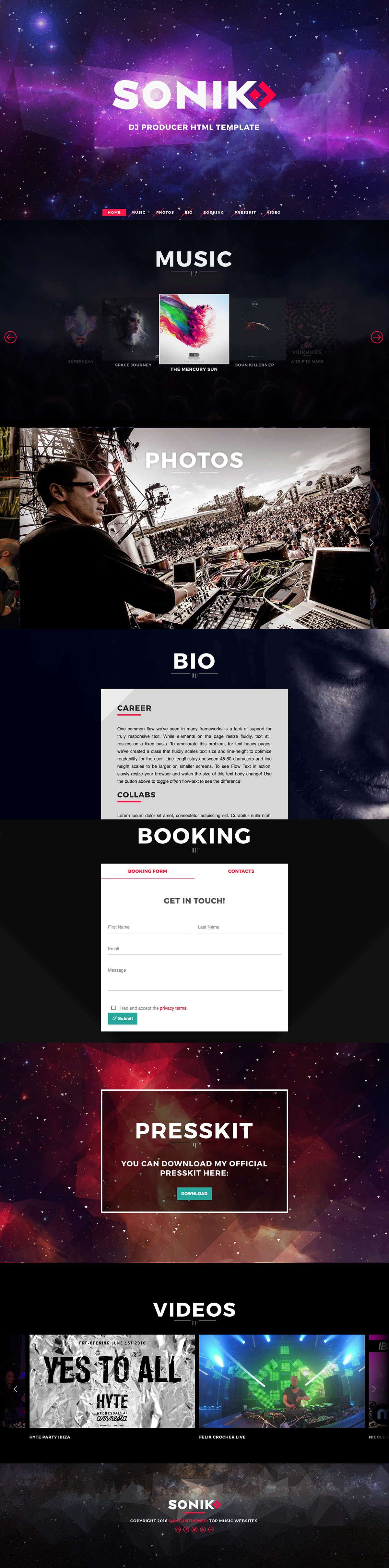 SONIK: Professional One Page Music / DJ / Producer Responsive HTML ...