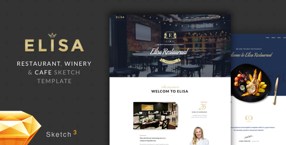 Elisa - Restaurant, Winery & Cafe Sketch Template