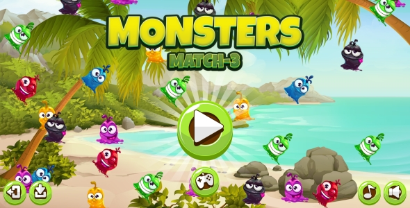 Monster Match-3 - HTML5 Game + Android + AdMob (Capx) - CodeCanyon Item for Sale