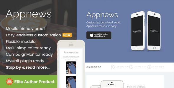 Appnews, Responsive Email Template for App Promo