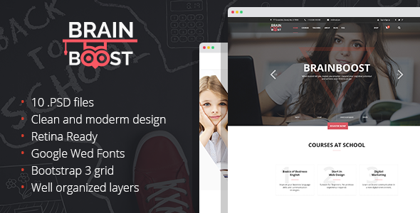 BrainBoost – Education, School & Courses PSD Template  - PSD Templates