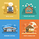 Lodge, Chalet, Cottage and Bungalow House Set - GraphicRiver Item for Sale