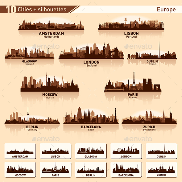 City Skyline Set Europe Silhouettes - Buildings Objects