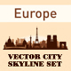 City Skyline Set Europe Silhouettes - GraphicRiver Item for Sale