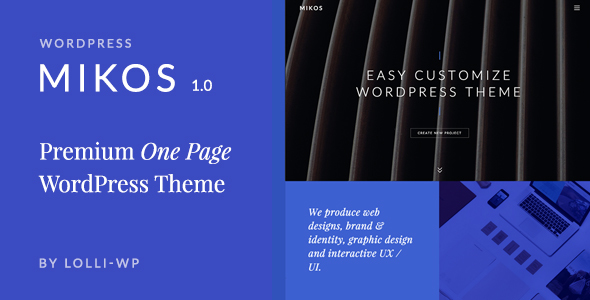 Mikos – Clean & Minimal One Page WordPress Theme