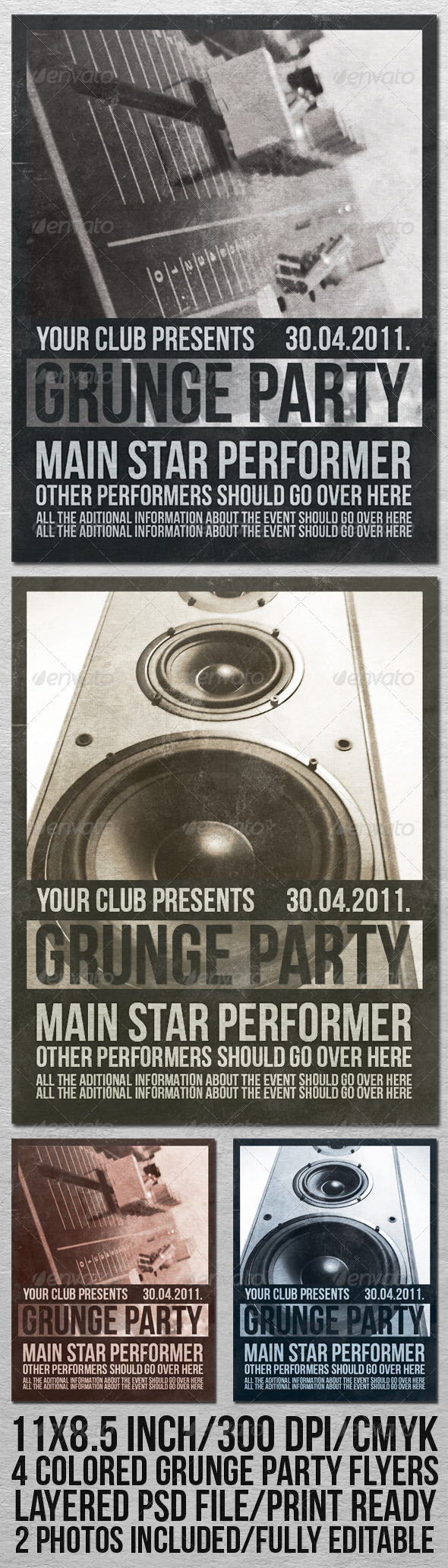 GRUNGE PARTY FLYER - Clubs & Parties Events