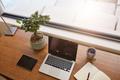Modern work desk by a window