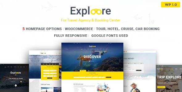 EXPLOORE – Travel, Exploration, Booking WordPress Theme