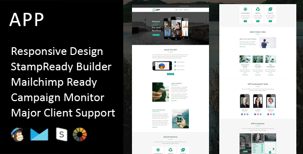 APP - Multipurpose Responsive Email Template + Stampready Builder - Email Templates Marketing