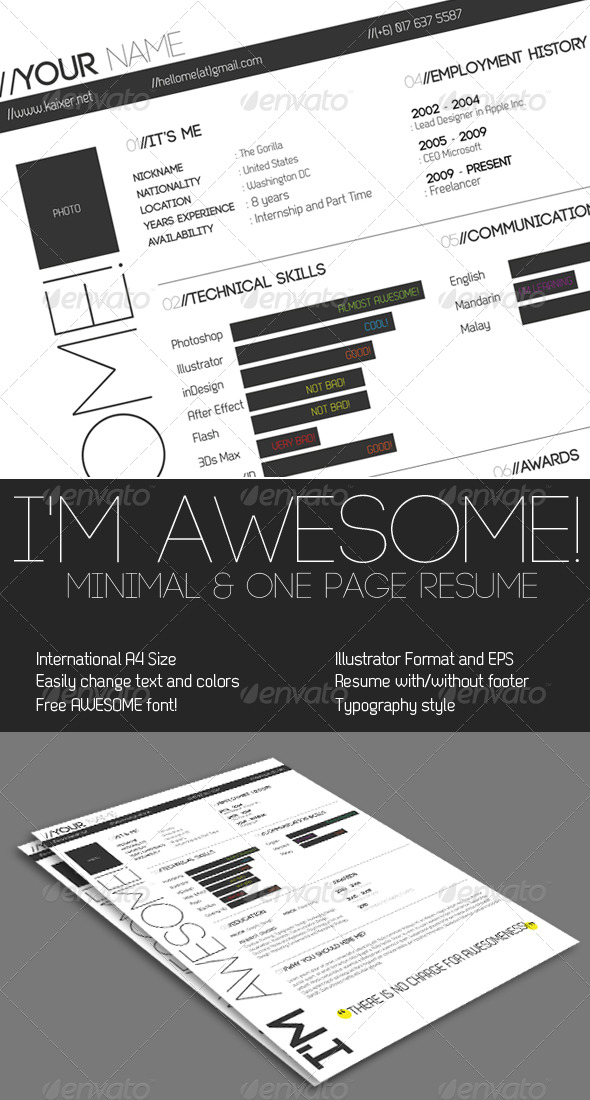 One Page Minimal Resume - Resumes Stationery