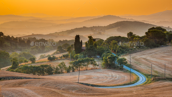 Tuscany hills panorama view - Stock Photo - Images