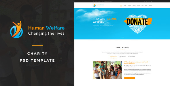 Human Welfare : Charity PSD Template - Charity Nonprofit