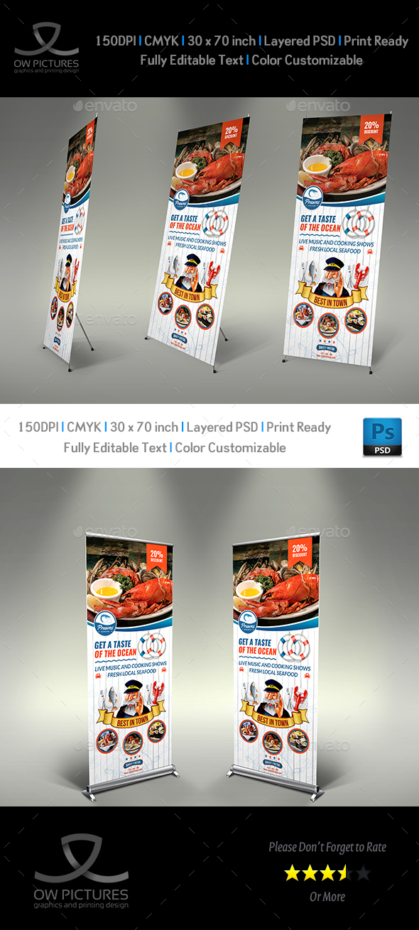 Seafood Restaurant Signage Roll Up Banner Template