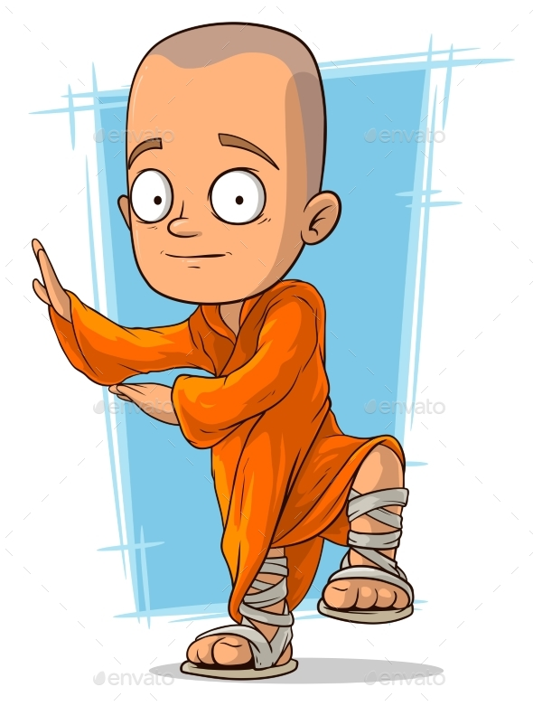 Cartoon Young Buddhist Monk - Religion Conceptual