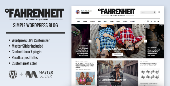 Fahrenheit – Responsive Personal WordPress Blog Theme