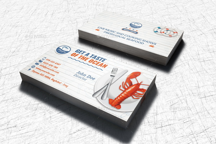 Seafood restaurant business card template by owpictures graphicriver seafood restaurant business card template business cards print templates 01seafoodrestaurantbusinesscardtemplateg colourmoves