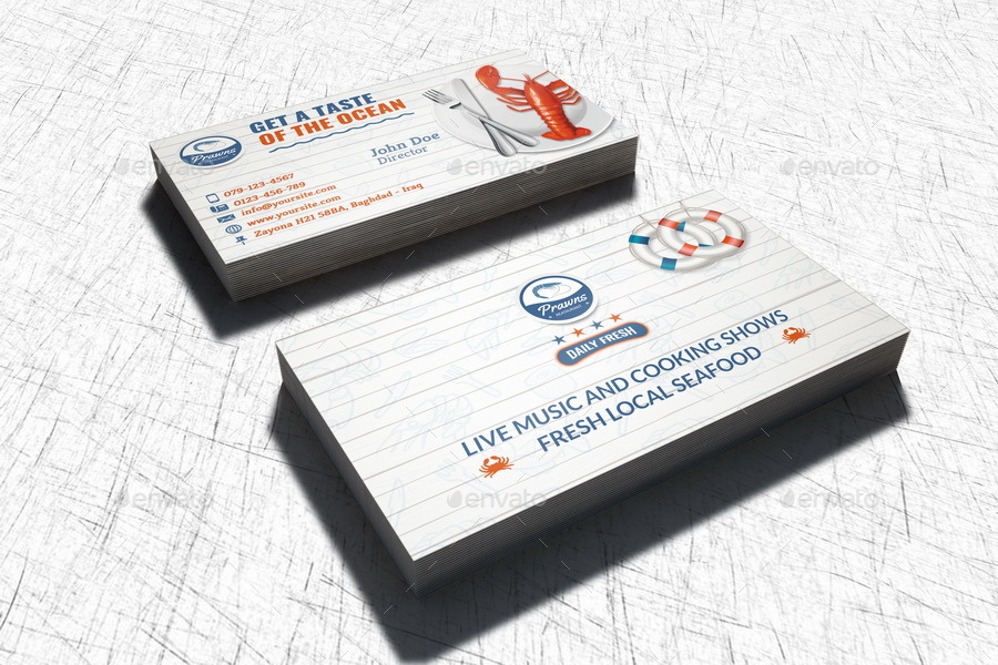 seafood restaurant business card template by owpictures