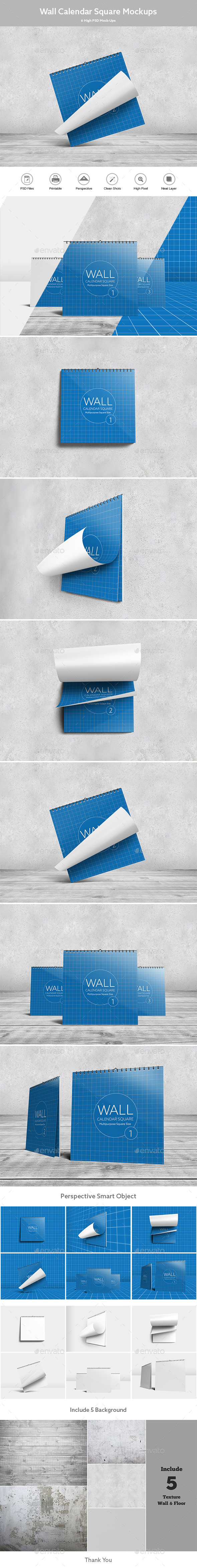Wall Calendar Square Mock-Ups - Miscellaneous Print