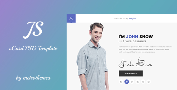 JS - Creative vCard & Resume Portfolio PSD Template  - Virtual Business Card Personal