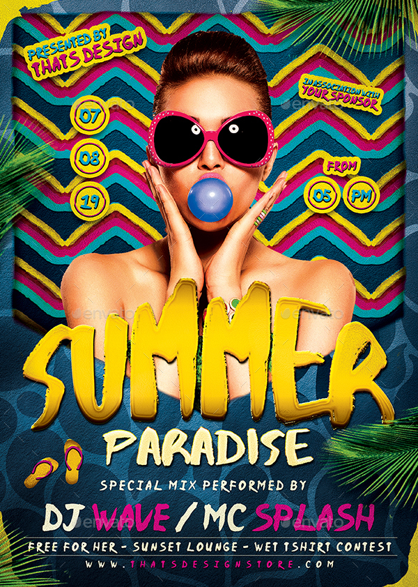 Beach Party Flyer Bundle V By Lou  Graphicriver