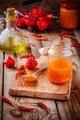 homemade hot chili and habanero chutney