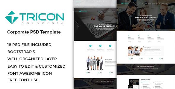 Download Free Tricon - Corporate PSD Template