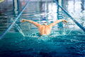 Male swimmer performing the butterfly stroke at indoor swimming competition - PhotoDune Item for Sale