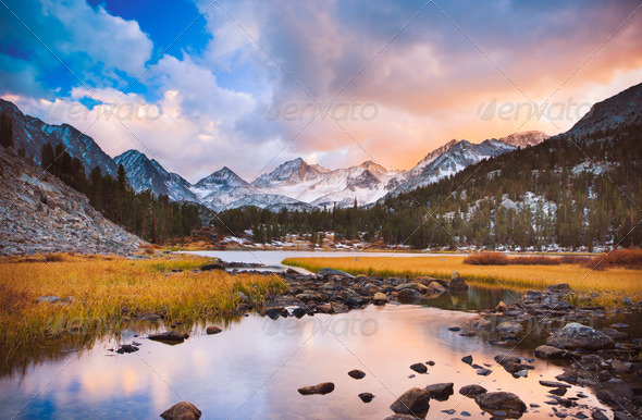 Amazing Landscape, Beautiful Mountain Sunset - Stock Photo - Images