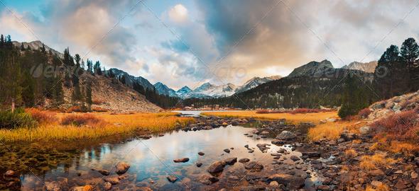 Amazing Landscape, Beautiful Mountain Sunset Panorama - Stock Photo - Images