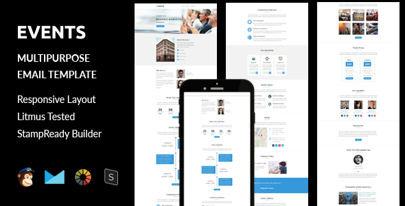 events multipurpose responsive email template stampready builder by guiwidgets. Black Bedroom Furniture Sets. Home Design Ideas