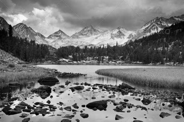 Dramatic Landscape, Mountain in Black and White - Stock Photo - Images
