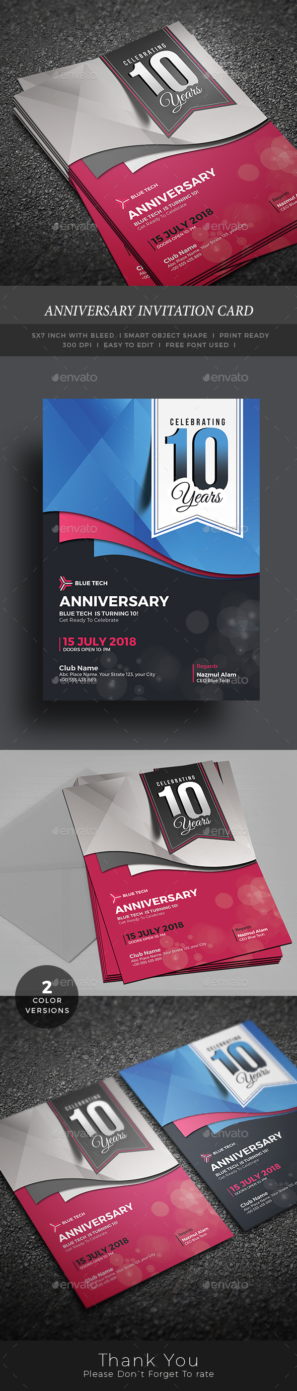 Anniversary invitation card by themedevisers graphicriver anniversary invitation card anniversary greeting cards stopboris Image collections