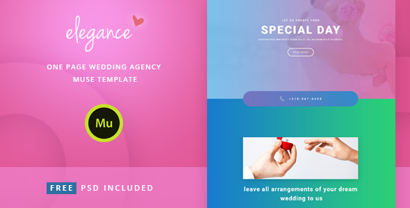 Elegance – One Page Wedding Agency Muse Template