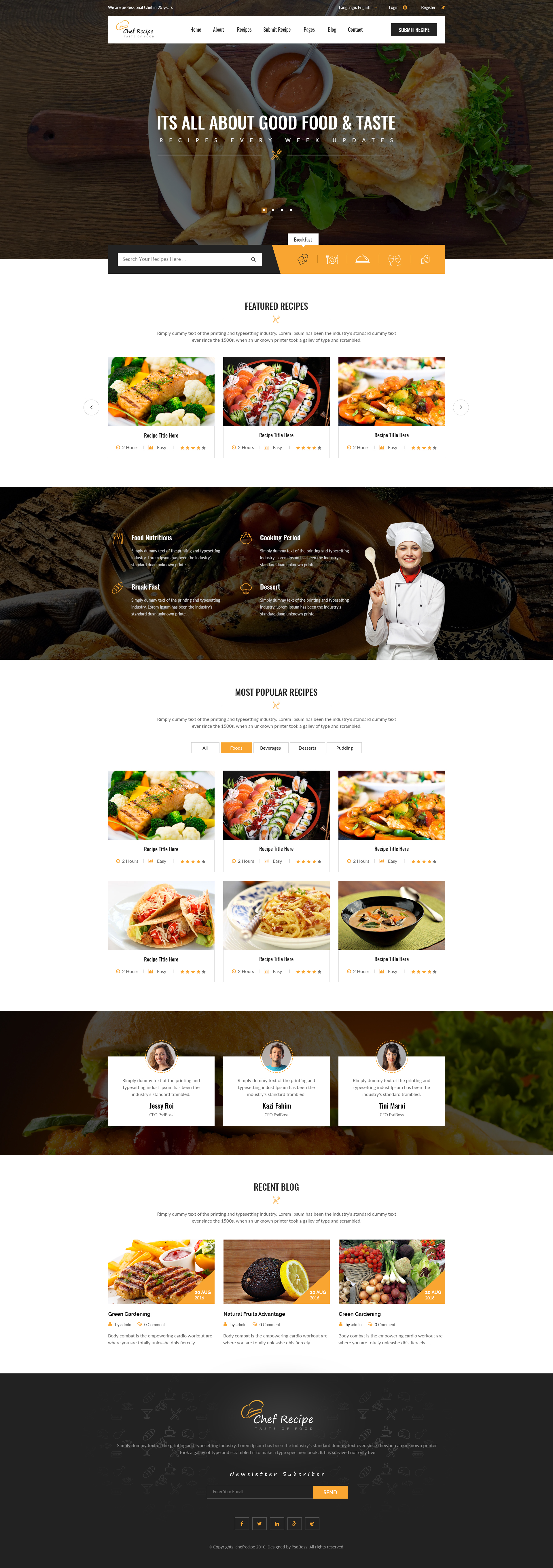 Chef recipe food and recipe psd template by psdboss themeforest chef recipe food and recipe psd template forumfinder Choice Image