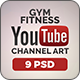 Gym and Fitness Youtube Covers - 3 Designs - 3 Colors - GraphicRiver Item for Sale