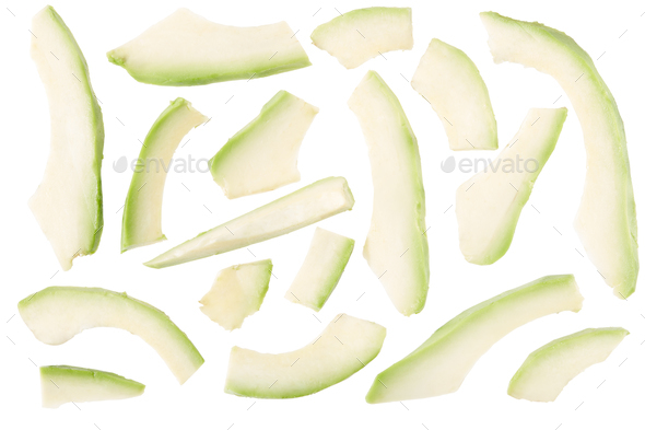 Avocado slices isolated on white, clipping path