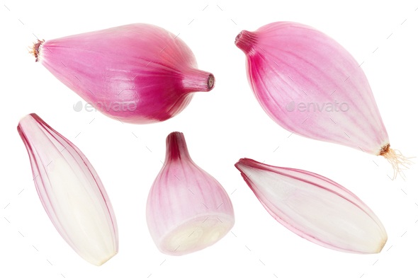 Red onions collection, Tropea type, isolated on white, clipping