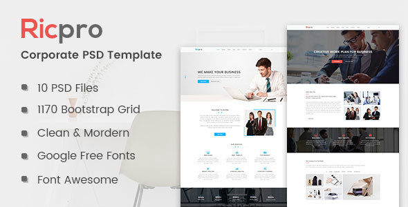 Download Free Ricpro - Corporate PSD Template