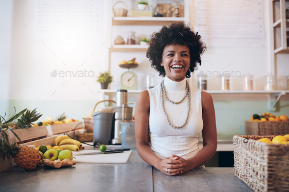Happy juice bar owner - Stock Photo - Images
