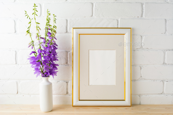 Frame mockup with bluebells bouquet - Stock Photo - Images