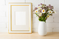 Frame mockup with wild flowers bouquet - PhotoDune Item for Sale