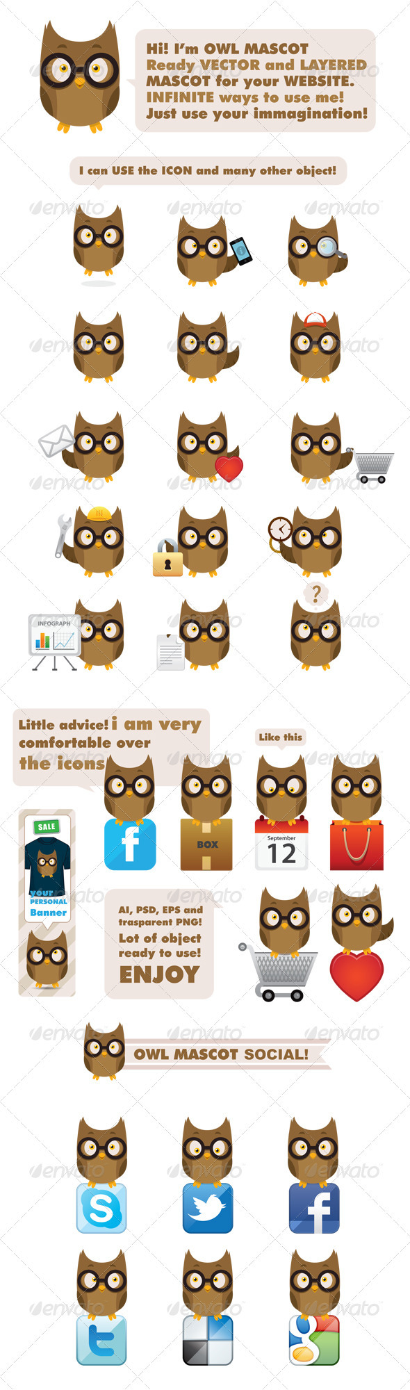 Owl Mascot - Animals Characters