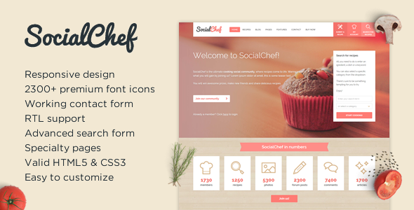 SocialChef - Social Recipe HTML Template - Food Retail