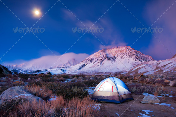 Camping in the Mountains - Stock Photo - Images