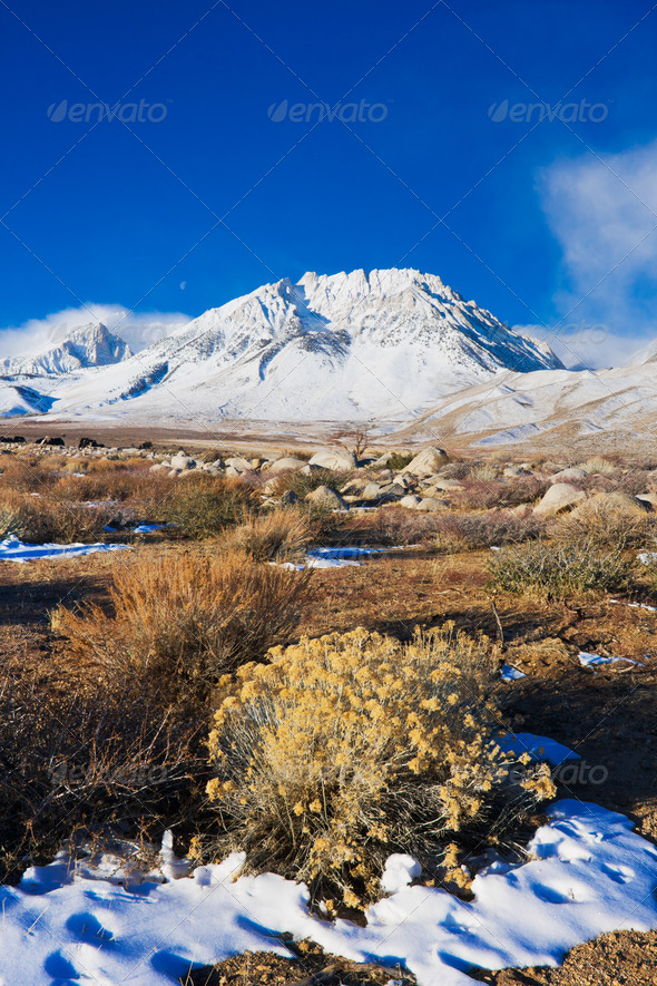 Beautiful Snowy Mountain at Sunrsie - Stock Photo - Images