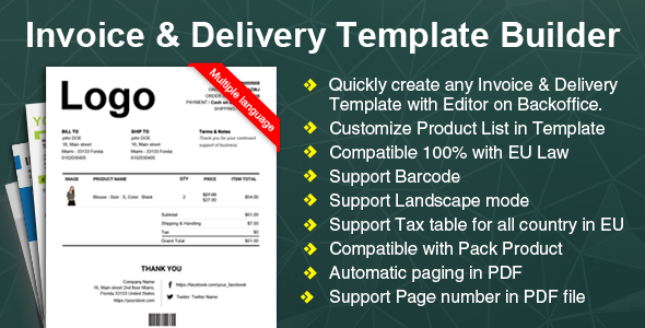 Woocommerce Invoice & Delivery (Packing Slip) PDF Template Builder Plugin - CodeCanyon Item for Sale