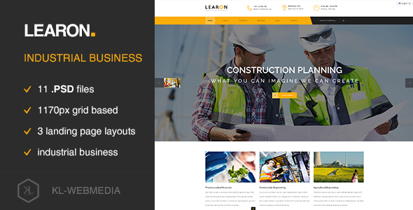 Learon - Industrial Business PSD template - Technology PSD Templates
