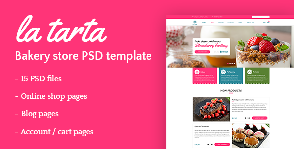 La tarta – Bakery shop PSD template