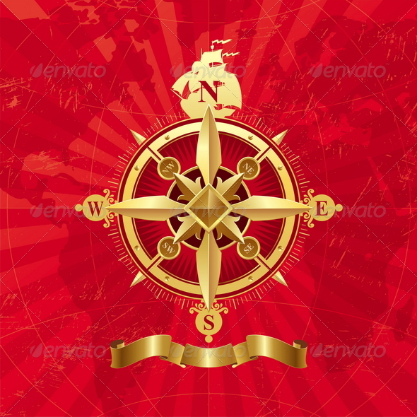 Ancient Golden Compass Rose. - Travel Conceptual